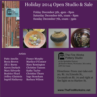 Fire Works Pottery Studio Holiday Sale and Open Studio